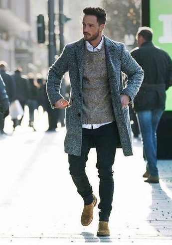 Men\u0027s Summer Look. Overcoat + Merino Wool Sweaters + Jeans + Cheslsea boots.  SHOP
