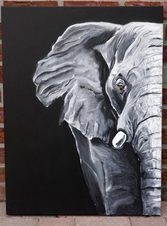 Now Sale 20%!Elephant,Africa, black and white painting,acrylic,canvas, jungle,face, grey,gray,portrait,art, animal by Beate Frieling