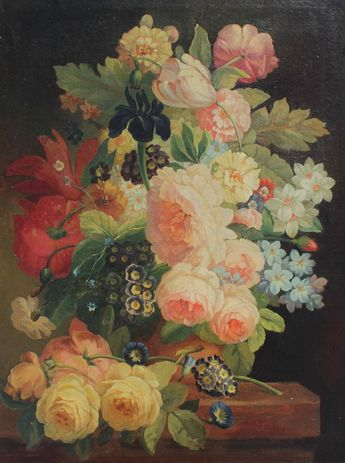 NEOCLASSICAL FLORAL STILL LIFE PAINTING ILLEG SGN : Lot 1298