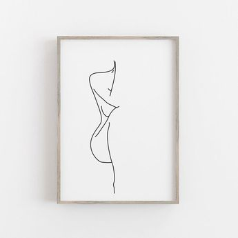 Woman Figure Drawing, Female Figure Print, Black White Poster, Female One Line Print, One Line Drawing, Minimalist Nude Female Body Poster