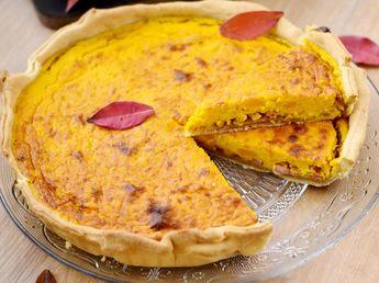 Tarte de potimarron, lardons et oignons caramélisés