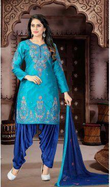 0e59e84c8a Firozi Color Malban Cotton Punjabi Patiyala Suit | 334039529 #patiyala  #patiyalasuits #punjabidress #