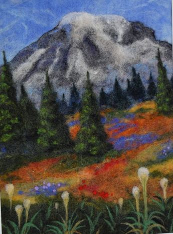 Needle Felted Landscape - Wool Landscape Art - Mountain - Flowers - Felted picture - wool painting, wool picture, fiber art painting
