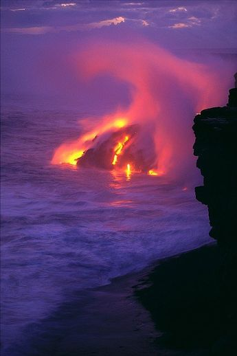 Lava Meets Ocean Action Art Print by William Waterfall - Printscapes
