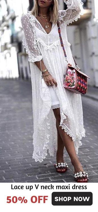Pretty V-neck Long Sleeves Maxi Dresses