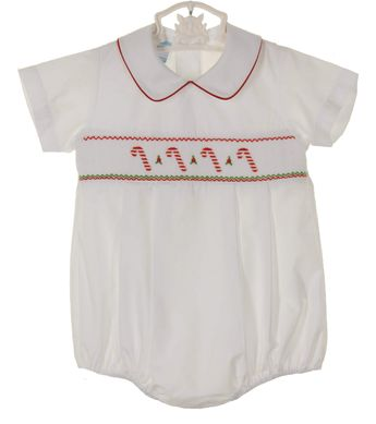 763e1385e76f NEW Petit Bebe by Anavini White Smocked Romper with Embroidered Candy Canes  $50.00