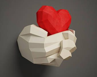 Papercraft Hand with Heart, 3D paper craft wall decor, DIY gift love, valentines day, paper model sculpture, pdf template kit, pepakura