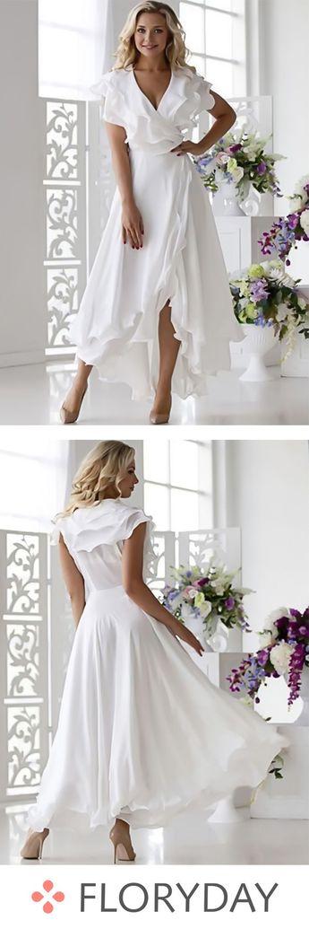 Solid ruffles short sleeve high low X-line dress, beautiful, fashion style.