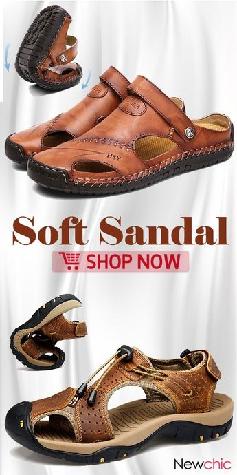 【Up to 55% off】Men Casual Soft Leather Sandals Shoes Collection. #mensfashion #menswear #shoes