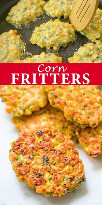 Made with sweet corn, bell pepper, herbs, eggs, and flour, these corn fritters are bursting with flavor and hold their shape well. Kids and adults love them, and they make a great snack or a light lunch. FOLLOW Cooktoria for more deliciousness! #corn #fritters #lunch #snack #sidedish #vegetarian #kidfriendly #yummy #recipeoftheday