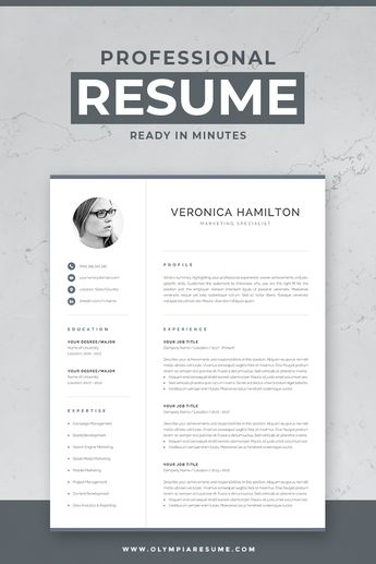 Professional Resume Template Resume with Photo 1  2 P