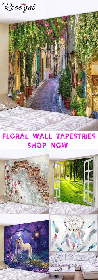 Free shipping over $45, up to 75% off, Rosegal Flower Print Wall Tapestry home decor livingroom bedroom wall tapestries #Rosegal #tapestries #home