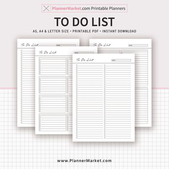 To Do List, Planner 2019, A5, A4, Letter Size, Printable Planner, Planner Refill, Planner Binder, Instant Download