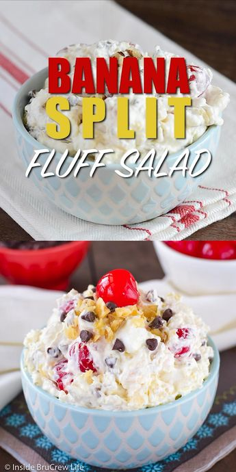 This Banana Split Fluff Salad is an easy ambrosia salad that is loaded with all your favorite banana split toppings.