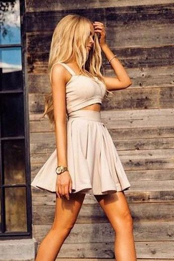 Short/Mini Homecoming Dresses, Champagne Mini Homecoming Dresses, Simple Two Pieces A Line Spaghetti Straps Homecoming Dress