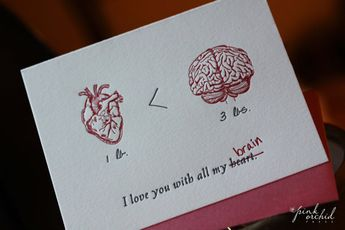 I love you with all my heart, Heart vs Brain-- letterpress nerd love greeting card (geek science). Valentine's Day, anniversary, birthday