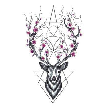Wyuen Conceptions Chaudes Cerfs Tatouage Temporaire Pour Les Femmes Tatouage Body Art 9.8X6 cm Étanche Main Faux Tatoo Autocollant Elk Animal A-073