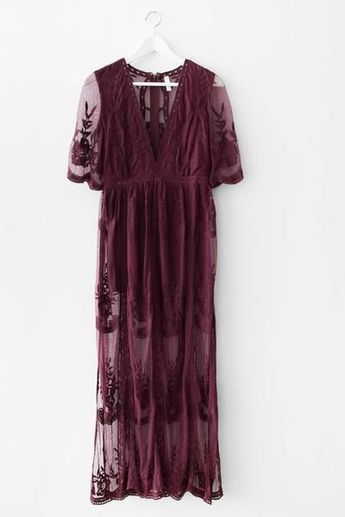 Gorgeous embroidered lace maxi dress Plunging V neckline Scalloped trim Side slits Zipper back Non-stretch lace Lined neckline and shorts underneath 100% Polye
