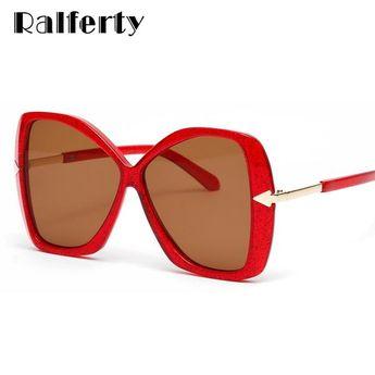 2e6149a2ac7 Ralferty Oversized Sunglasses Women Big Frame Transparent Glasses Red Color  W813069