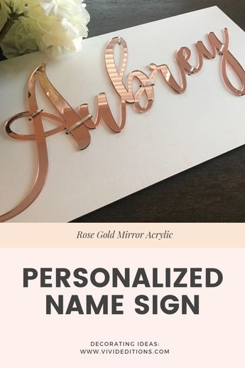 "24"" Rose Gold Mirror Personalized Name Sign"