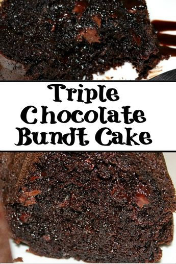 This Triple Chocolate Bundt Cake is sure to cure any chocolate craving! With cake mix, pudding, and chocolate chips its the perfect bundt cake to make! #chocolate #chocolatecake #bundtcake