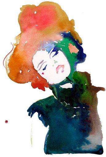 Watercolour Fashion Illustration, Fashion illustration print, Watercolor Fashion Print, Fashion Poster, Fashion Sketch, Red Hair Art Print