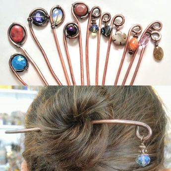 I made copper hairsticks for the spring! Decorated with crystal or semiprecious stones. Would you pay $20 for a one if a kind hair stick? #HandmadeLive #OttawaOriginals #copper #copperjewellery #handmadeincanada