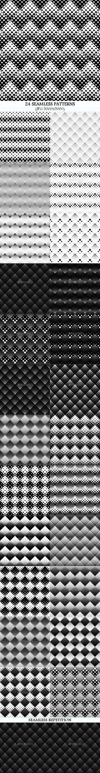 24 Seamless Square Patterns. Professionally designed pattern background. #background #design #DigitalArt #pattern #abstract #AbstractBackground #BlackAndWhite #collection #diagonal #geometry #halftone #monochrome #motif #patterns #repeating #seamless #SeamlessPattern #set #square #SquarePattern #squares #wallpaper