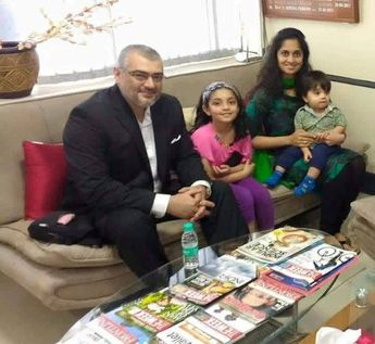 The Cutest Family you've ever seen! From the left ‪#‎Ajith‬ ‪#‎Anoushka‬ ‪#‎Shalini‬ ‪#‎Aadvik‬