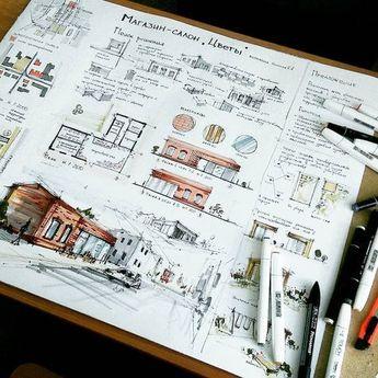"964 Gostos, 3 Comentários - ARCFLY (@arcfly_ft) no Instagram: ""Amazing Sketch by @xenia_klassen #archidrawing #archisketch #architect…"""