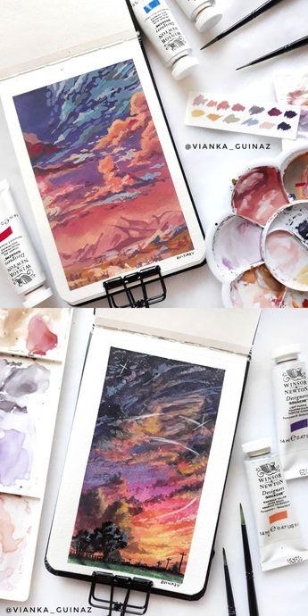 Vianka Guinaz on Instagram #art #painting #watercolor #gouache #sketchbook #clouds #sky #landscape #sunset #sunrise #dusk #dawn