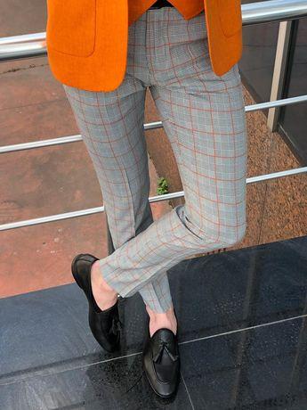 Bríghid Stone Slim Fit Plaid Cotton Pants