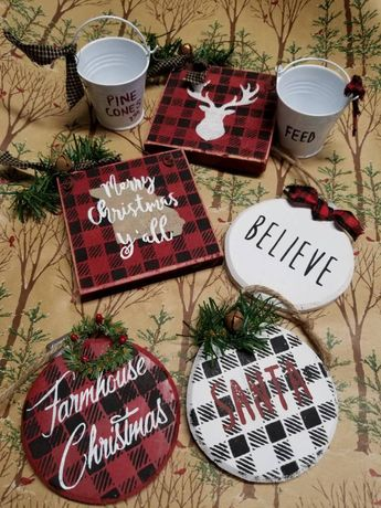 Buffalo Plaid themed ornament - price is per ornament