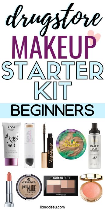 The ultimate drugstore makeup starter kit for beginners! In this post, you'll find a list of makeup products for beginners and basic makeup for beginners on a budget. Let's get your drugstore makeup kit on a budget started today! Free Printable List shopping list inside! #drugstore #makeup#beginner