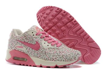 Women's UK Nike Air Max 90 Camellia Print Shoes Pink/Beige Trainers UK Sale
