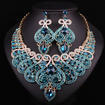 New Bridal Jewelry Sets Wedding Necklace Earring For Brides Party Accessories Gold Color Crystal Indian Decoration Women Gift
