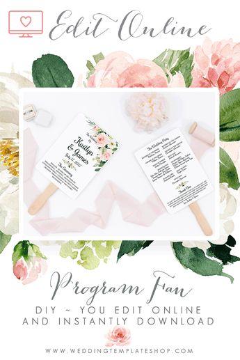 Wedding Program Fans Templates for DIY Ceremony Fan