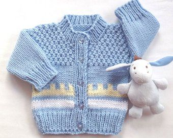 2a86ab3d0 Blue hand knit baby sweater - 6 to 12 months - Infant handk