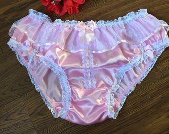 8b67830d4cd Baby Pink Bikini Panties Satin Sissy Knickers - Lace