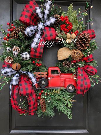 Christmas Wreath, Farmhouse Christmas Decor, Buffalo Plaid Wreath, Christmas Wreaths, Door Hanger, Wall Decor, Christmas Ornament