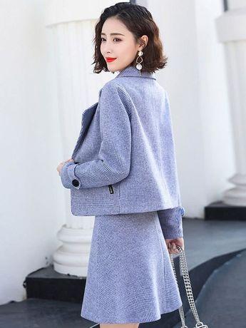 313bc2fc8278e ファッション通販 #Fashion Doresuweラシャ長袖コートスカートAラインチェックおしゃれレディースファッション