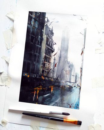 Watercolor. Paper. 42*32  В последнее время  вдохновляют города❤ Paper. Watercolor. . . . #illustration  #artgallery #watercolor…