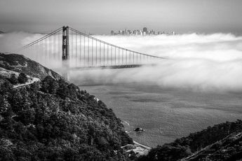 Golden Gate Bridge, Black and White Photo, Limited Edition Photograph, Iconic Retro City By The Bay, Fog Canvas, Susan Taylor, Bay Area