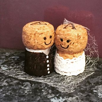 Cork Mr & Mrs Cake Topper by TwineDesignsBySophie on Etsy