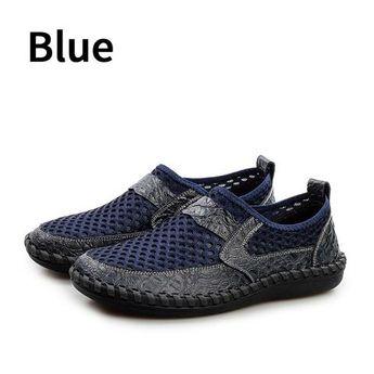c4e13350ac6a BIMUDUIYU Breathable Men s Casual Shoes Summer Shoes Cowhide + Mesh  Crocodile Pattern Male Mesh Shoes Plus