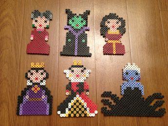 Disney Villains set (Stepmother, Maleficent, Mother Gothel, Evil Queen, Queen of Hearts, Ursula) Perler Beads  by SongbirdBeauty