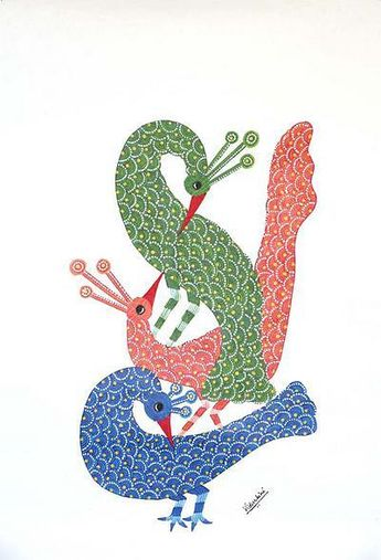 Gond painting, 'Flirting Peacocks'