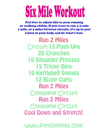 Treadmill cardio workout with running, but could be walking, and strength training in between miles.