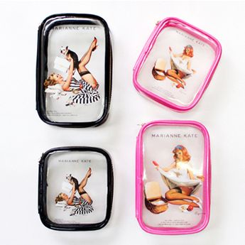 Pinup Girl Clear Makeup Bag > Cute and simple clear makeup bag by MARIANNE KATE @ kollectionk.com