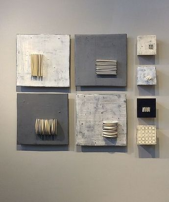 Four and Four in Gray and White by Lori Katz (Ceramic Wall Sculpture